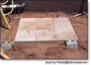 laying blocks for the outdoor shower