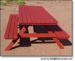Picnic Table With Redwood Stain ByExamplecom - How to stain a picnic table